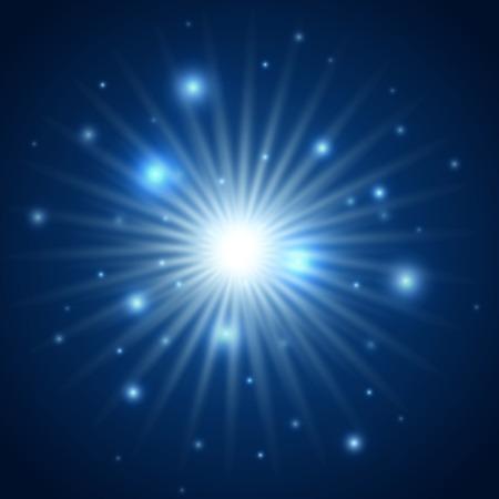 estrella azul: Resumen de fondo de color azul explosi�n de la estrella Vectores
