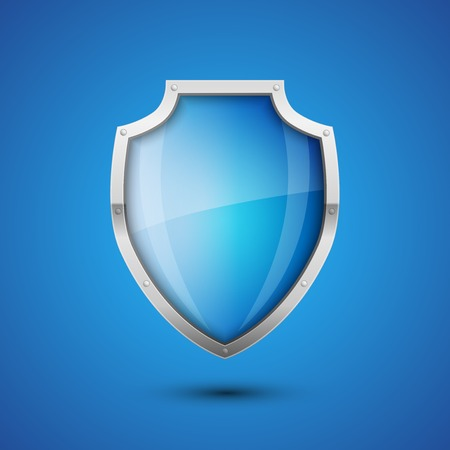 Realistic Vector Shield, glossy glass on blue background Vector