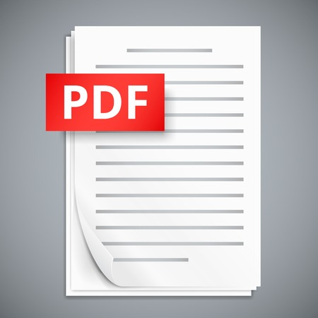 paper sheets: PDF icons, stack of paper sheets, vector illustration