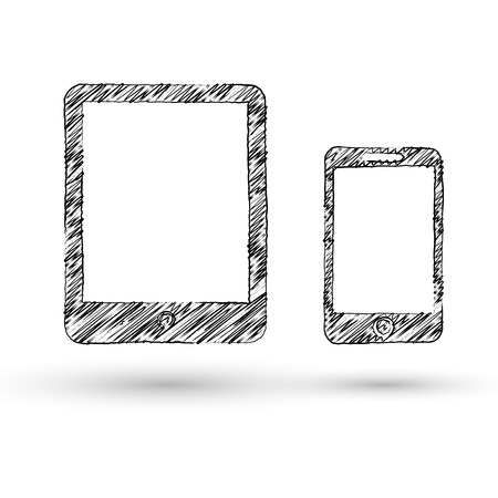 Vector tablet and smartphone concept doodle style icon Vector