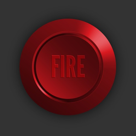 titled: Red button titled FIRE, vector concept illustration
