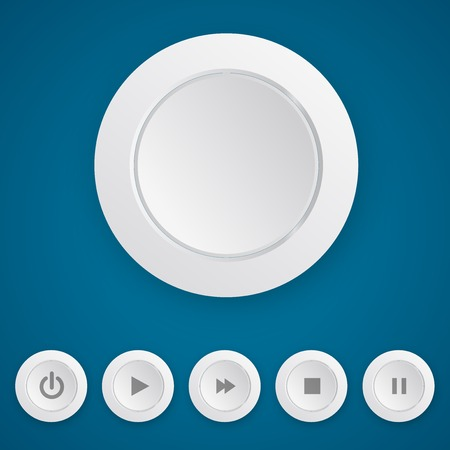 push button: Media playerwhite round push button template. Vector illustration on blue background