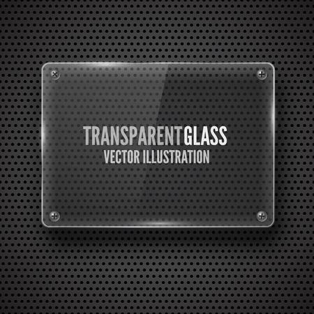 plexiglas: Glass  framework with screw on  metal background  Vector illustration  Illustration