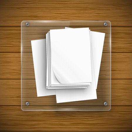 panelling: Glass sqaure framework with paper sheets and wood texture. Vector illustration