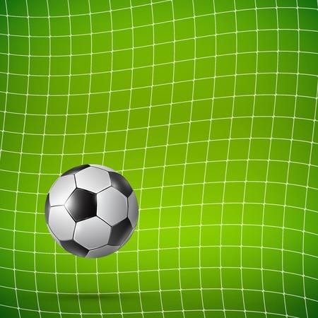 soccer goal: Football Soccer ball in goal on green, Vector realistic illustration.