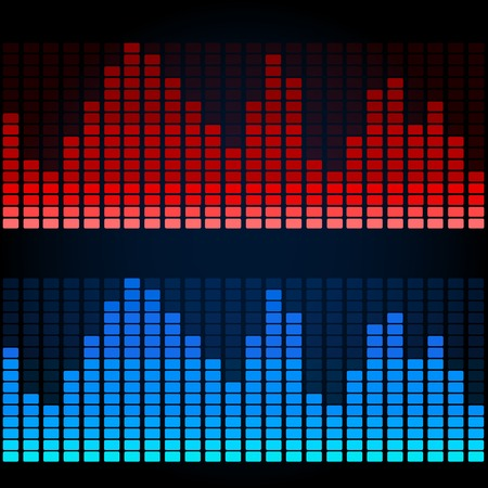 sound system: Two colors simple equalizers, abstract technology vector background