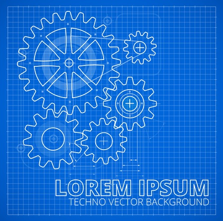 blue print: Abstract gears, technology background. Blueprint style  Illustration