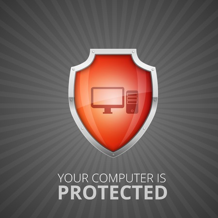 anti virus: Glossy Red Shield, protection concept Illustration