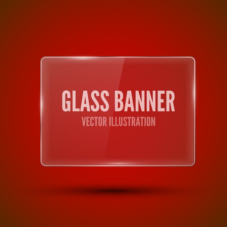 plexiglas: Glass framework on red background. Vector illustration. Illustration
