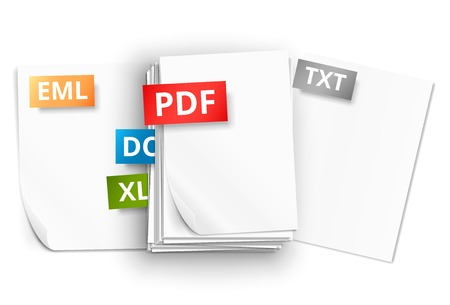 pdf: Big stack of white paper sheets and scattered pages with file extension icons