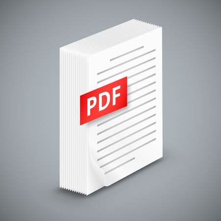 files: PDF icon, Big stack of white paper sheets with schematic text, stand on background
