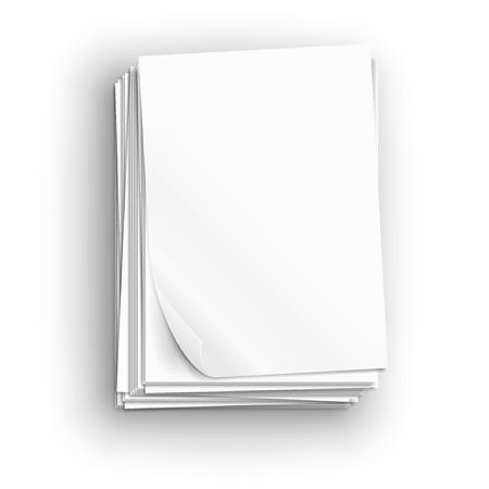 Grote stapel witte vellen papier, vector illustratie