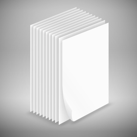Big stack of white paper sheets, vector illustration Vector