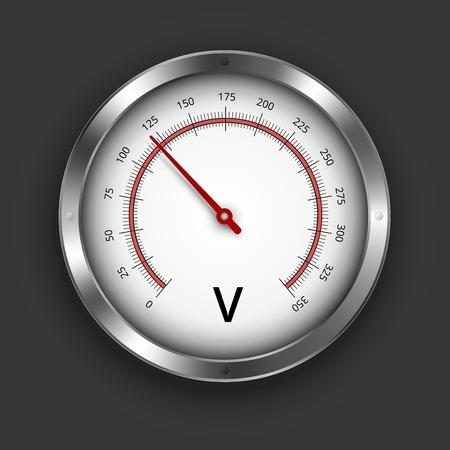 metrology: Vector voltmeter metallic gauge illustration on black background