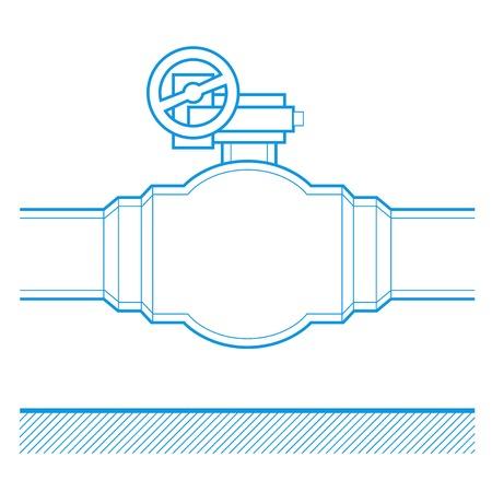 conduit: Industrial tap vector blueprint illustration Illustration