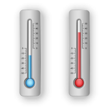 coldness: illustration of thermometers with hot and cold levels