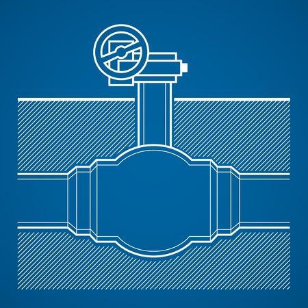 plumb: Industrial tap vector blueprint illustration underground  on blue background