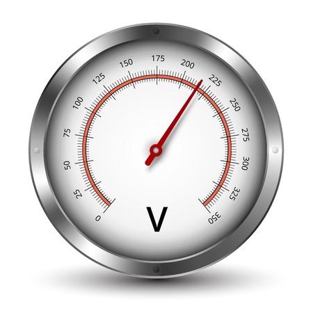 metrology: voltmeter metallic gauge illustration