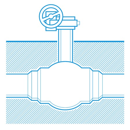 piping: Industrial tap blueprint illustration underground