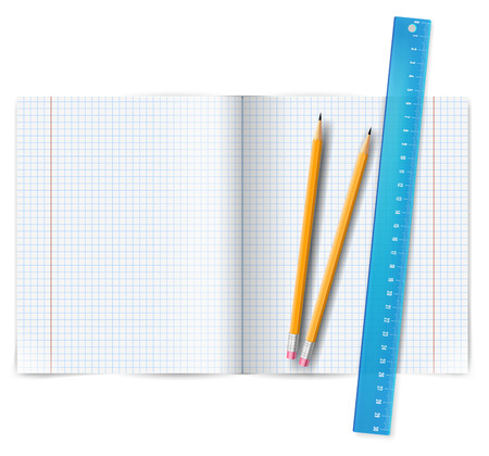 square ruler: Exercise book with ruler Illustration