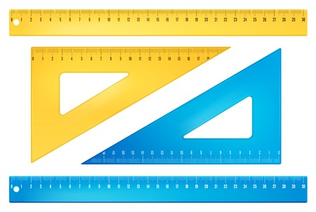 colored school: Blue and yellow rulers
