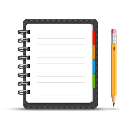 Leather notebook with a pencil Vector
