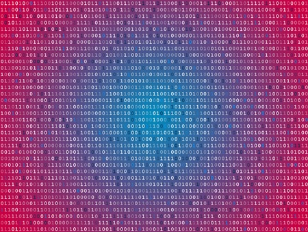 operating system: Red screen binary code screen Illustration