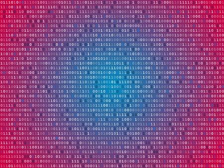 Red screen binary code screen Illustration