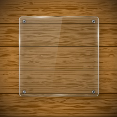 glass fence: Glass framework and wood texture
