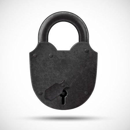 rusty padlock: Heavy lock Illustration