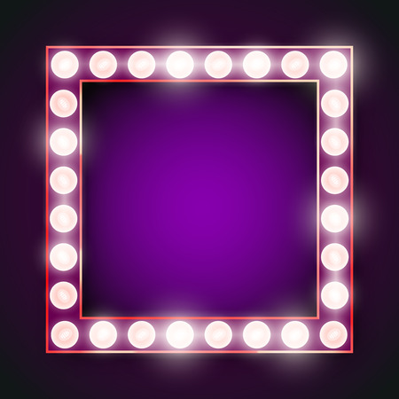 magnificent: Vector violet neon lights lamp vector frame template