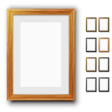 marco madera: Fotogramas Vectores
