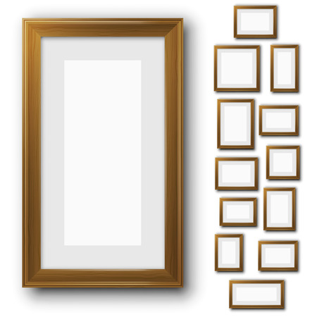 Wooden blank picture frame template set isolated on white. Different sizes vector illustrations.