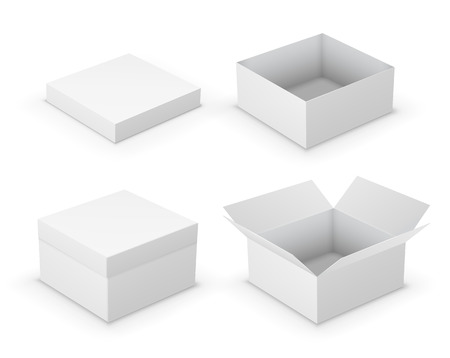 isolated on white: Open boxes