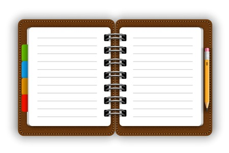 spiral binding: Leather notepad Illustration