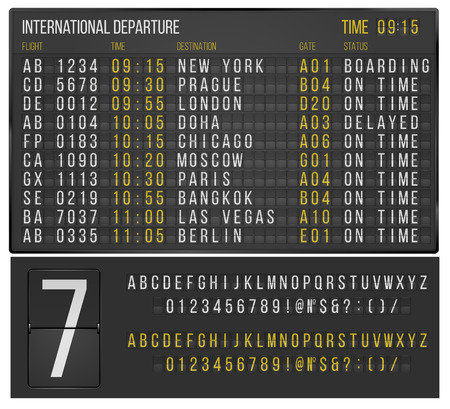 departure board: Table airport