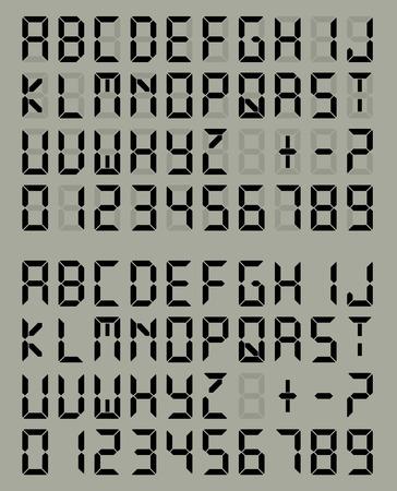디지털 액정 글꼴 회색 배경을 표시합니다. 벡터 설정
