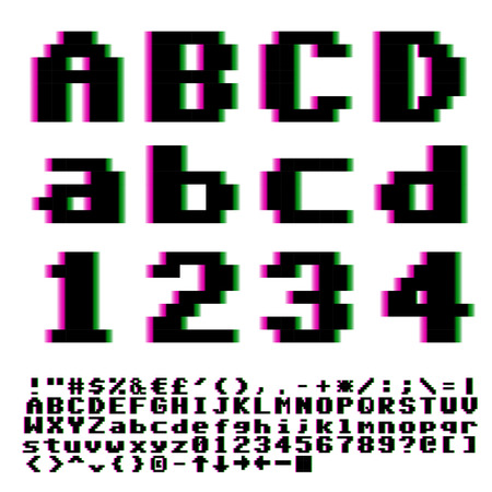 Video games big pixels font with chromatic aberrations violet-cyan distortion. Vector.