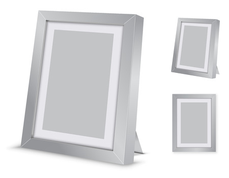 silver picture frame: Silver blank desktop picture frame. Vector illustration with front wall version
