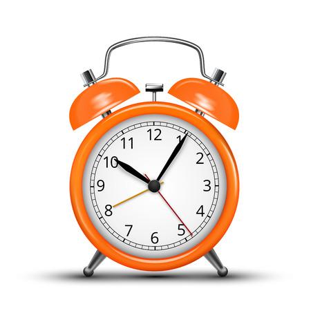 awake: Classic design orange alarm clock isolated on white. Vector illustration