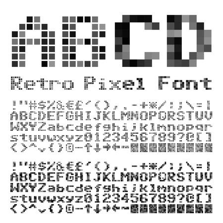 pixelate: Pixelate old game style font. Vector typeset Illustration