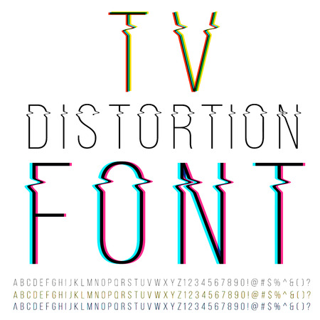 distorted: Tv distortion thin font, three version with color aberration. Vector Illustration
