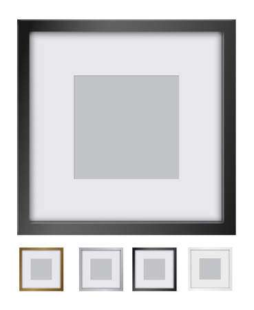 silver picture frame: Vector picture frame with gold, black, silver and white borders.
