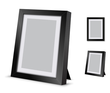 photo pictures: Black picture frame at the desk, vector illustration