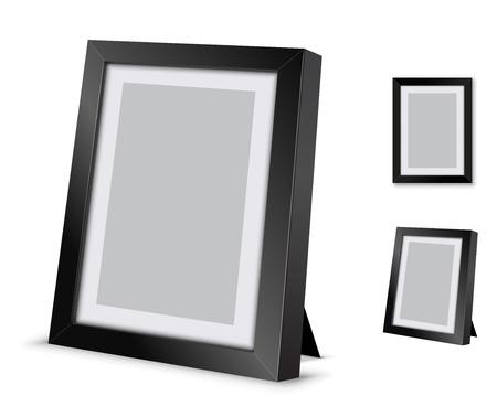 marco madera: Marco de imagen Negro en el escritorio, ilustraci�n vectorial