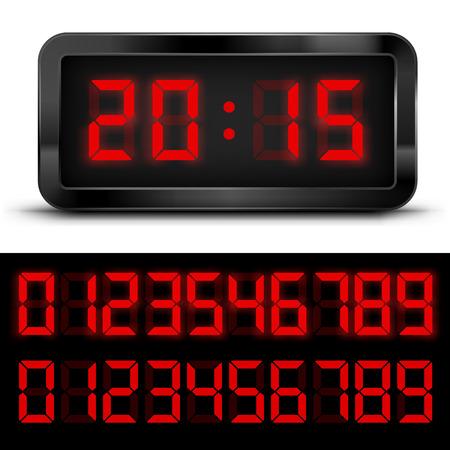 Digital Clock with Liquid Crystal Display Red. Vector illustration