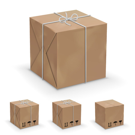 packer: Old, worn and new cardboard boxes wrapped in paper. Vector illustration set