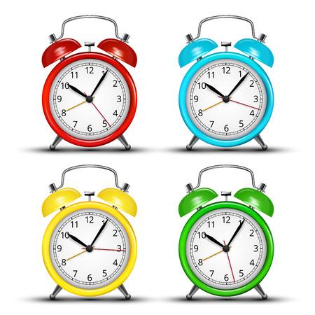 4 つの着色された目覚まし時計のセットです。 ベクトル図  イラスト・ベクター素材