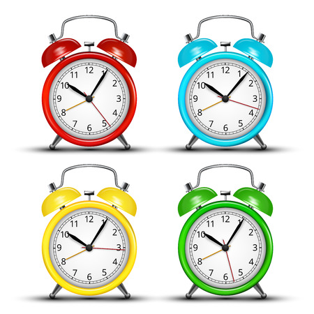Set of four colored alarm clocks.  Vector illustration