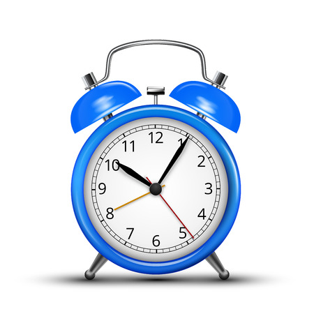 midday: Vector Alarm Clock Classic Blue Colored Design. Vector illustration